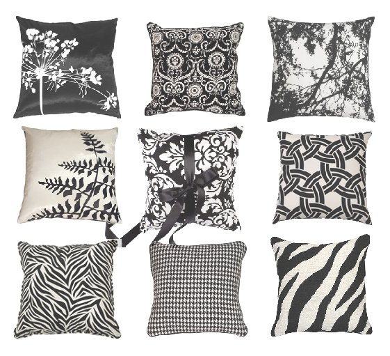 Trend Alert: Black & White Decorative Pillows   decor trends