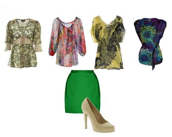 How Would You Match The Green Skirt and Nude Pumps?   trendy games