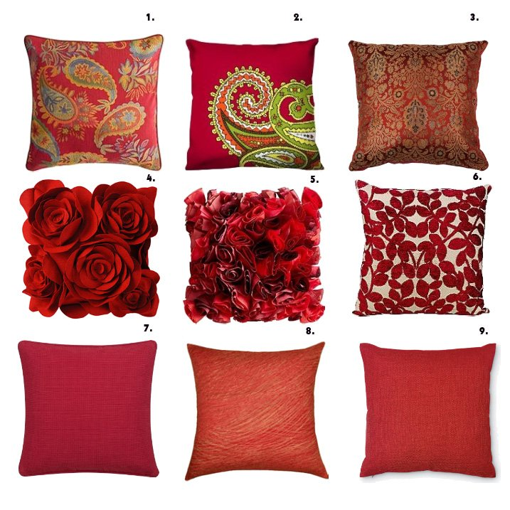 Shopping time red pillows how to be trendy - Cojines modernos para sofas ...