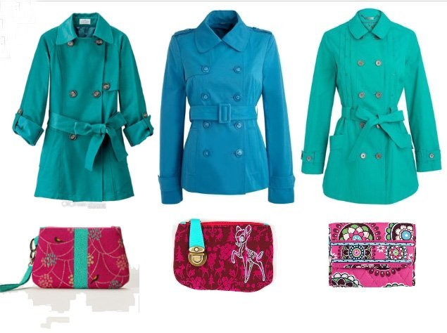 Shopping Time: Turquoise Trench Coats and Fuchsia Wallets!