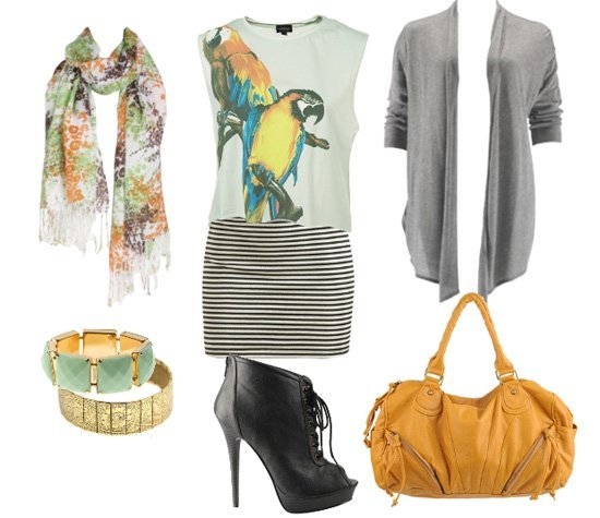 Parrots, Stripes and Orange in an Eclectic Look   fashion trends