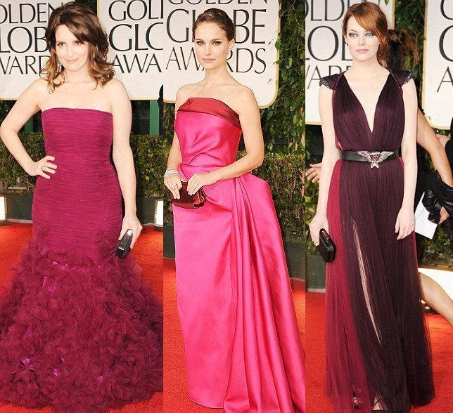 Celebrity Trends: Berry and Rose Evening Dresses