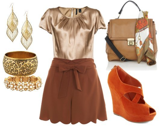 Daily Outfit: 7 Piece Scallop Browns and Bricks for $215   how to wear fashion trends daily outfits
