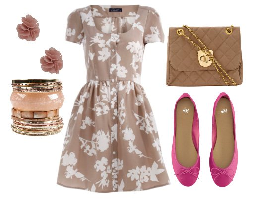 Daily Look for $100: Beige Florals and Pink Accents 1