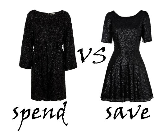 Spend VS Save: Sequin Black Dresses   spend vs save fashion trends