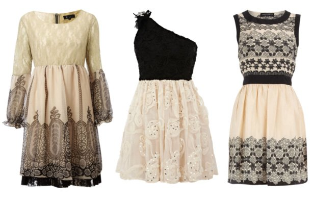 Dress Trend: Cream and Black Lace   3 Picks Under $45   trend alert shopping time on a budget fashion trends