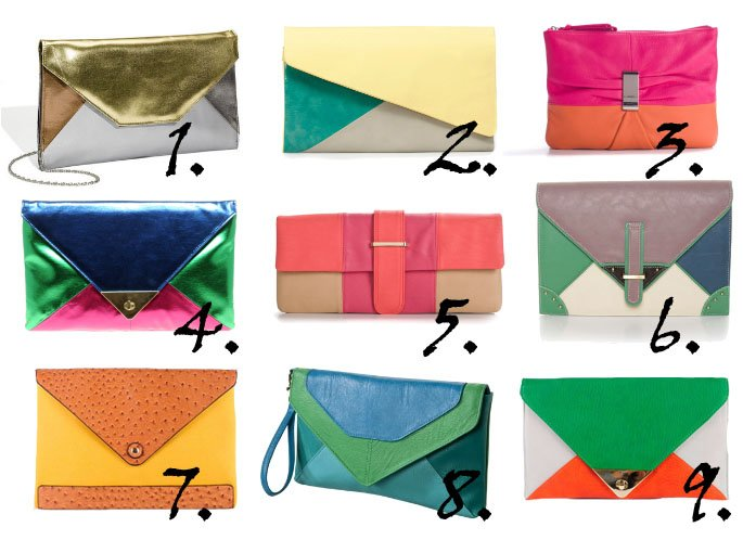 Trend Alert: Colorblock Clutches From $17 to $50   trend alert shopping time on a budget fashion trends