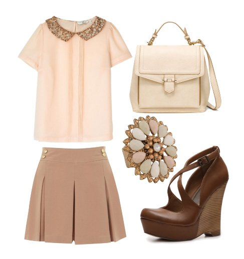 nude brown and pink outfit how to wear