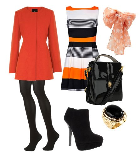 orange black and white outfit how to wear