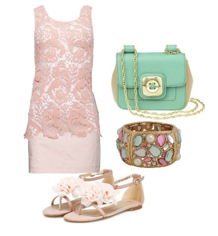 Warm Weather Essentials: Pink Lace and Minty Freshness   fashion trends daily outfits