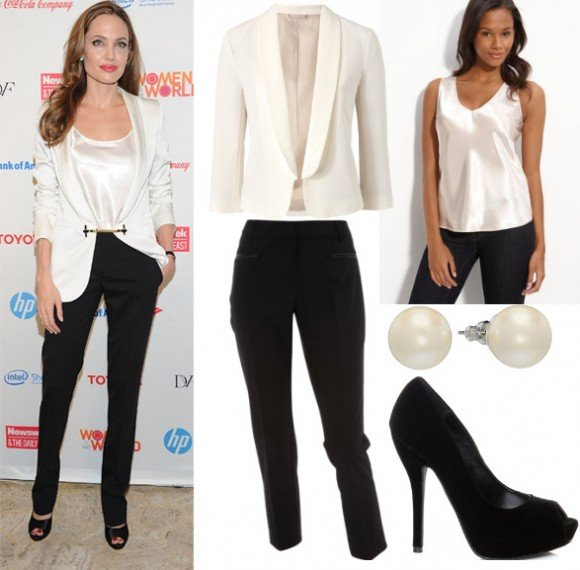 Get Her Style - Angelina Jolie's Black & White Outfit for