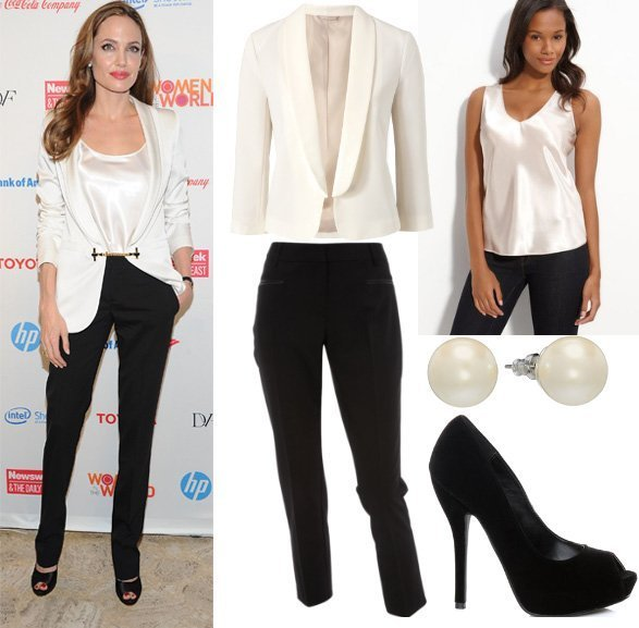 Get Her Style   Angelina Jolies Black & White Outfit for $160   celebrity trends