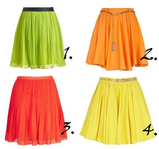 Savory Treats: Pleated Citrus Skirts Under $60   trend alert shopping time on a budget fashion trends