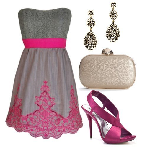 Doll Up in Gray and Magenta! 4 Piece Evening Look Under $130
