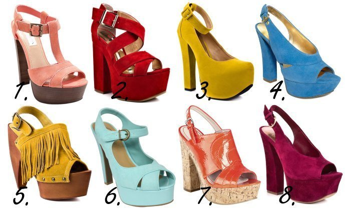 Colorful & Chunky Platform Heels   8 Retro Picks Under $100   trend alert shopping time on a budget fashion trends