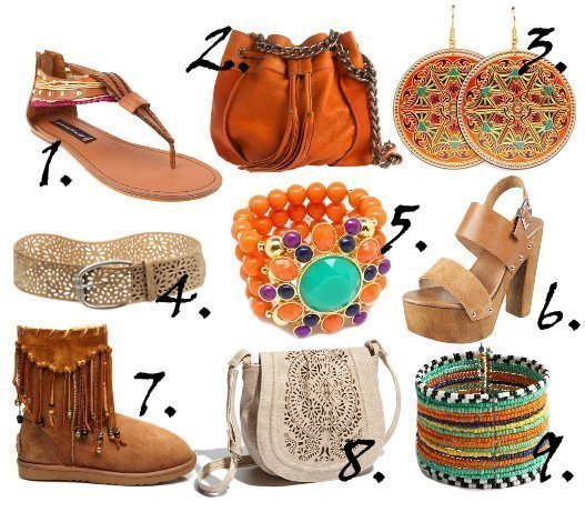 So Boho! Tan, Bown and Orange Hippie Picks   trend alert fashion trends
