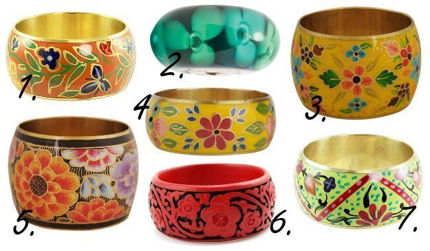 Springtime Flare: Color Loaded Floral Bangles   trend alert shopping time on a budget fashion trends