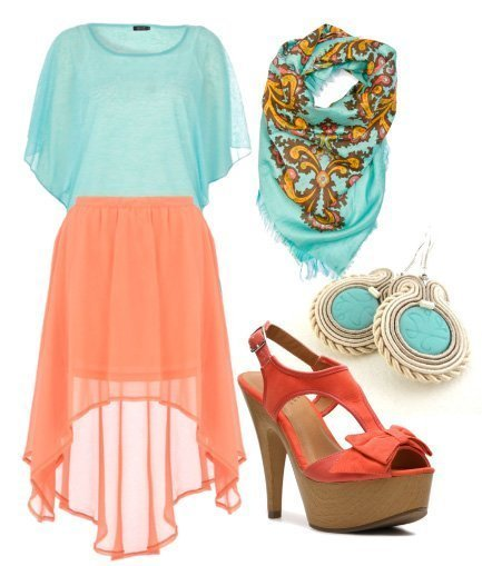 Daly Look: Peach Meets Aqua Under $200!   fashion trends daily outfits