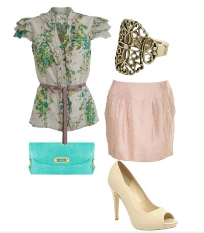 Daily Look: Romantic Daytime Date with Florals, Pink and Turquoise  3