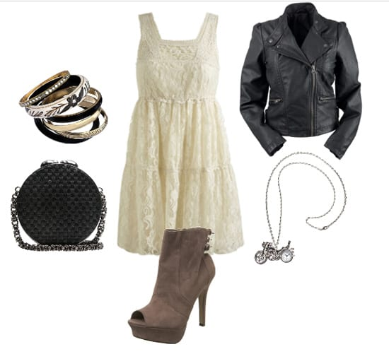 How to Wear a Lace Dress with a Leather Jacket 4