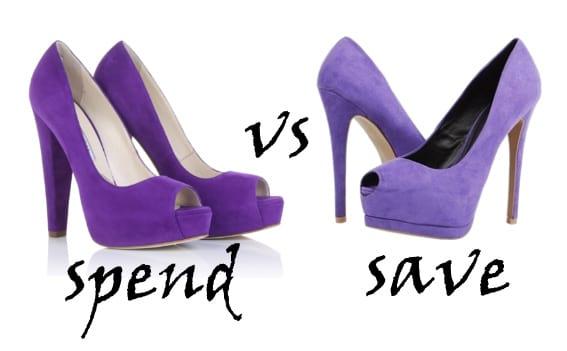 Spend VS Save: Purple Peep-Toe Platforms 7
