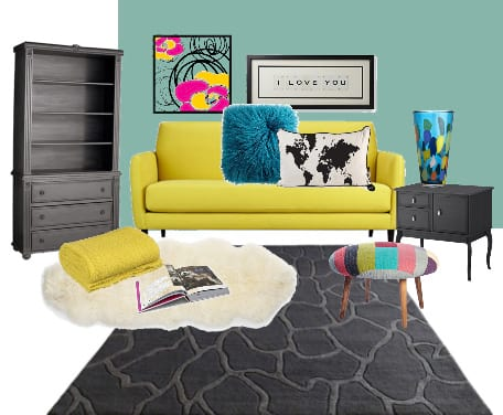 Decor Dare: Mix Turquoise, Yellow and Coal 2