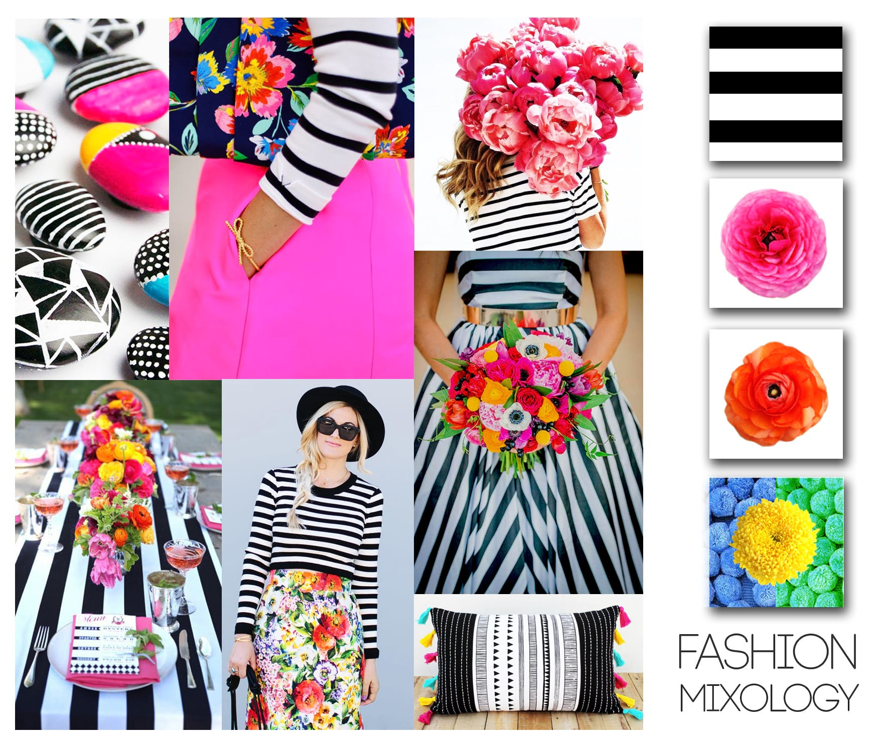 Decor Meets Fashion - Mixing Prints: Desaturated Stripes & Bright Florals 16